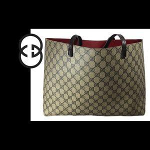 Gucci Calfskin Monogram Reversible Tote